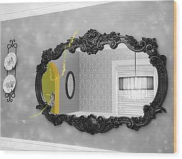 Escape From The Yellow Room Wood Print by Debra Baldwin