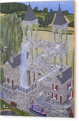 Escher's Mill Landscaped And Painted By Eric Kempson Wood Print by Eric Kempson