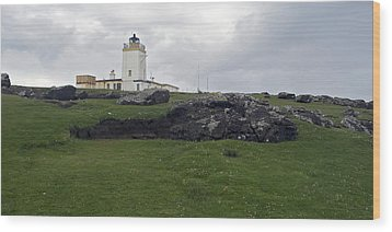 Eshaness Lighthouse Wood Print by Steve Watson
