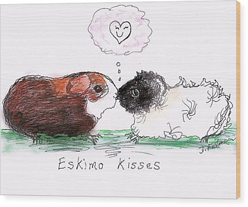 Wood Print featuring the drawing Eskimo Kisses by Denise Fulmer