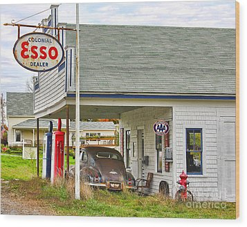 Esso Gas Staion Wood Print