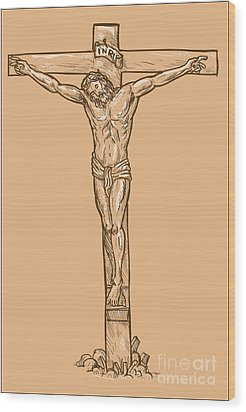 esus Christ hanging on the cross Wood Print by Aloysius Patrimonio