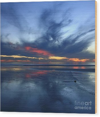 Ethereal Beach Blues Wood Print