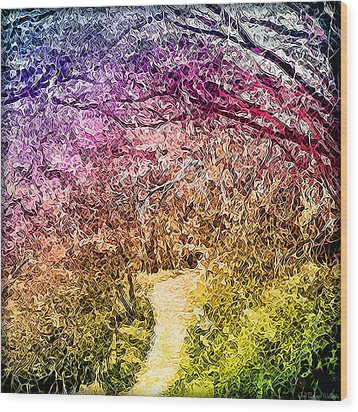 Wood Print featuring the digital art Ethereal Garden Pathway - Trail In Santa Monica Mountains by Joel Bruce Wallach