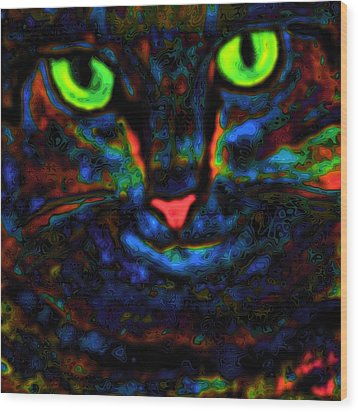 Ethical Kitty See's Your Dilemma Light 2 Dark Version Wood Print by Lisa Brandel