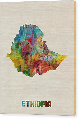 Wood Print featuring the digital art Ethiopia Watercolor Map by Michael Tompsett