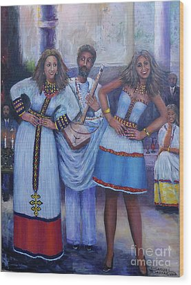 Ethiopian Ladies Shoulder Dancing Wood Print