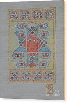 Ethiopian Cherub Talismen Scroll Wood Print