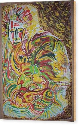 Ethnic Wood Print by Helene  Champaloux-Saraswati