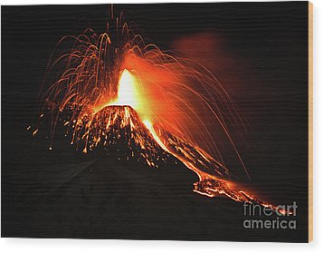 Italy, Sicily,etna Wood Print by Bruno Spagnolo