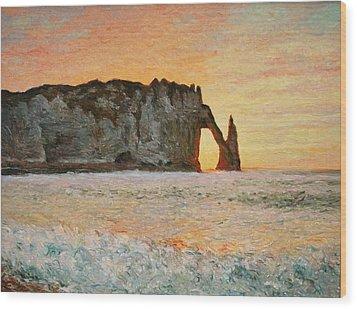 Etretat, Sunset  Wood Print