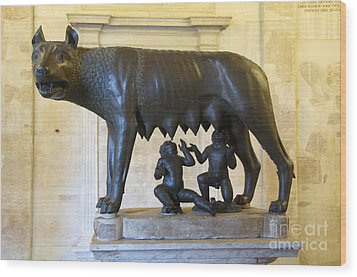 Etruscan Bronze Statue Of The She-wolf With Romulus And Remus. Capitoline Museum. Capitoline Hill. R Wood Print by Bernard Jaubert