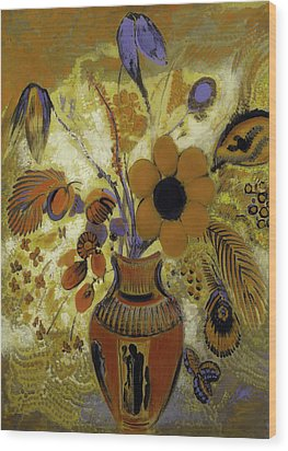 Wood Print featuring the painting Etrusian Vase With Flowers by Odilon Redon