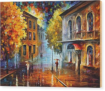 Etude In Red Wood Print by Leonid Afremov