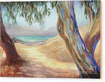 Wood Print featuring the painting Eucalyptus Beach Trail by Michael Rock