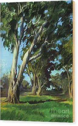 Wood Print featuring the painting Eucalyptuses by Sergey Zhiboedov