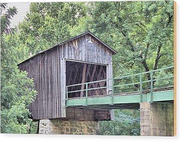 Euharlee Creek Covered Bridge Wood Print