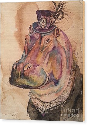 Eunice Hippo Wood Print by Christy  Freeman