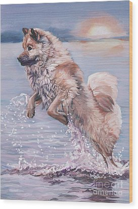 Wood Print featuring the painting Eurasier In The Sea by Lee Ann Shepard