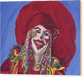 Eureka Springs Clown Wood Print by Patty Vicknair