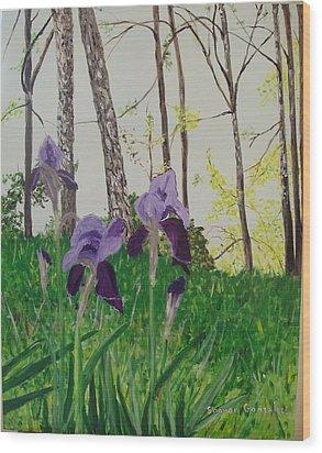 Eureka Springs Irises Wood Print by Sharon  De Vore