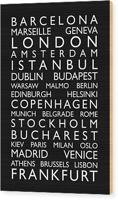 Europe Cities Bus Roll Wood Print by Michael Tompsett