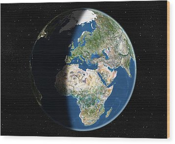 Europe, Satellite Image Wood Print by Planetobserver