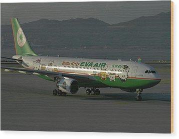 Wood Print featuring the photograph Eva Air Airbus A330-203 by Tim Beach