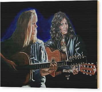 Wood Print featuring the painting Eva Cassidy And Katie Melua by Bryan Bustard