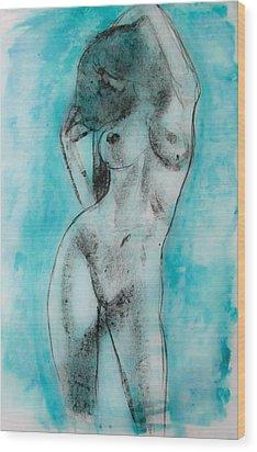 Wood Print featuring the painting EVA by Jarko Aka Lui Grande