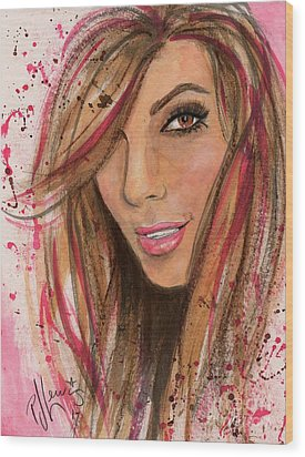Wood Print featuring the painting Eva Longoria by P J Lewis