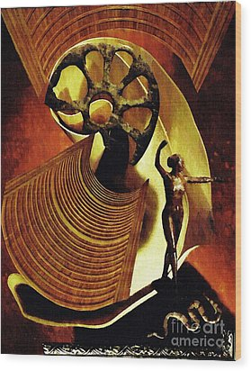 Eve Balanced On A Tightrope Wood Print by Sarah Loft