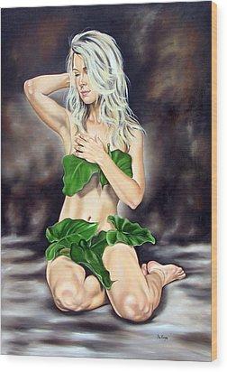 Eve In The Garden Ll Wood Print by Ilse Kleyn