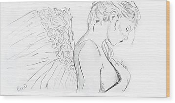 Even Angels Cry Without Quote Wood Print
