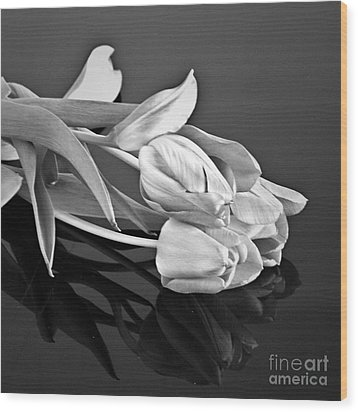 Even Tulips Are Beautiful In Black And White Wood Print by Sherry Hallemeier