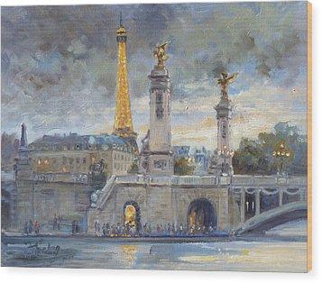 Evening At Pont Du Alexandre, Paris Wood Print