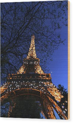 Wood Print featuring the photograph Evening At The Eiffel Tower by Heidi Hermes