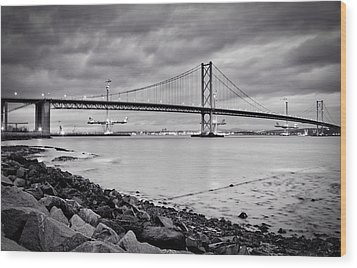 Evening At The Forth Road Bridges Wood Print by RKAB Works