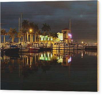 Evening At The Marina Wood Print by Kimberly Camacho