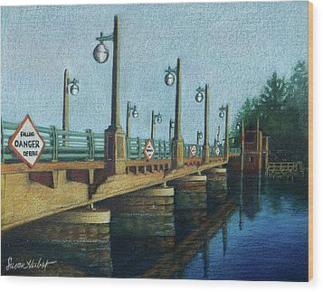 Wood Print featuring the painting Evening, Bayville Bridge by Susan Herbst