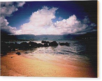 Evening Beach Hawaiian Style Wood Print by Judyann Matthews