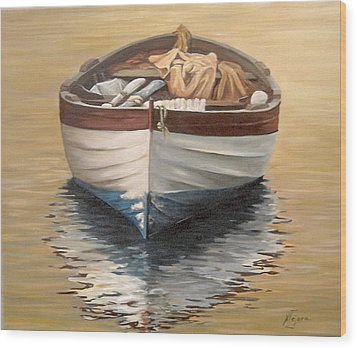 Wood Print featuring the painting Evening Boat by Natalia Tejera