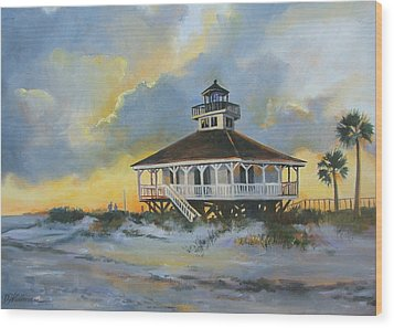 Evening  Boca Grande Light Wood Print by Dianna  Willman