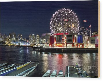 Evening By Science World Vancouver Wood Print