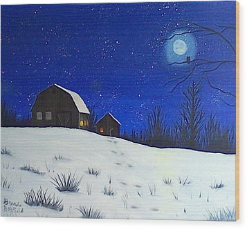 Evening Chores Wood Print by Brenda Bonfield