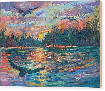 Wood Print featuring the painting Evening Flight by Kendall Kessler