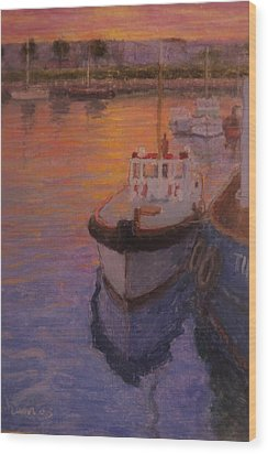 Evening Gisbourne Harbour Wood Print by Terry Perham