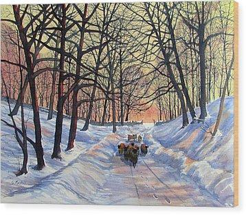 Evening Glow On A Winter Lane Wood Print