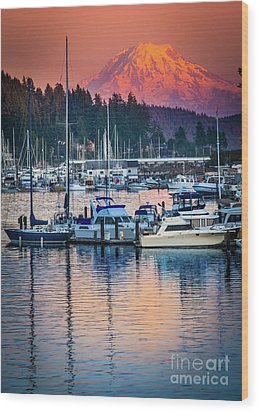 Evening In Gig Harbor Wood Print by Inge Johnsson