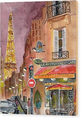 Evening In Paris Wood Print by Sheryl Heatherly Hawkins